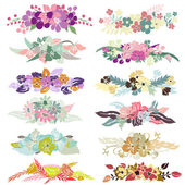 12 floral bouquets — Stock Vector