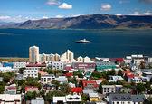 Letecký pohled na hlavní město islandu reykjavíku — Stock fotografie