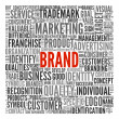 Brand related words in word tag cloud — Stockfoto #12226303