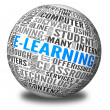 E-learning concept in tag cloud - 图库照片