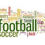 concepto de fútbol en la nube de etiquetas de palabra sobre fondo blanco — Foto de Stock