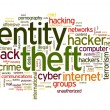 Stock Photo: Identity theft concept in word tag cloud