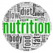 Nutrition related words concept in tag cloud on white — Zdjęcie stockowe