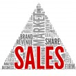 Sales and market concept in word tag cloud on white — Stock Photo #12226398