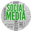 Social mediconcept in word tag cloud — Stock Photo #12226400