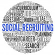 Social recruiting concept in word tag cloud — 图库照片
