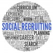 Social recruiting concept in word tag cloud — Foto Stock