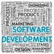 conceito de desenvolvimento de software na nuvem de Tags — Foto Stock