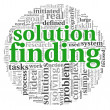 Solution finding concept in word tag cloud — Stock Photo #12226411