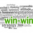 Win-win - winning solution concept in word tag cloud — Stockfoto