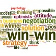 Win-win negotiation solution concept in word tag cloud — Stock Photo