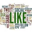 Like - social media concept in word tag cloud on white — Lizenzfreies Foto