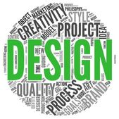 Design concept in word tag cloud on white background — Stock Photo