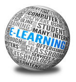 E-learning concept in tag cloud — Stock fotografie