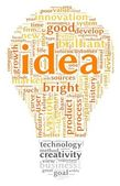 Idea concept related words in tag cloud of bulb shape — Stock Photo