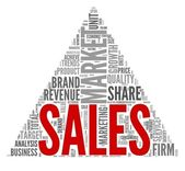 Sales and market concept in word tag cloud on white — Stock Photo