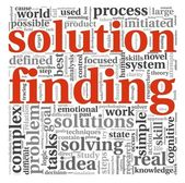 Solution finding concept in word tag cloud — Stock Photo