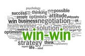 Win-win - winning solution concept in word tag cloud — Stock Photo