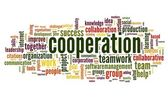 Cooperation and teamwork concept in word tag cloud — Stock Photo