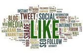 Like - social media concept in word tag cloud on white — Stock Photo