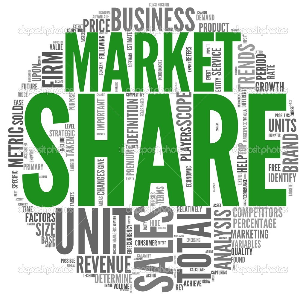 Market share and sales concept in word tag cloud stock photo