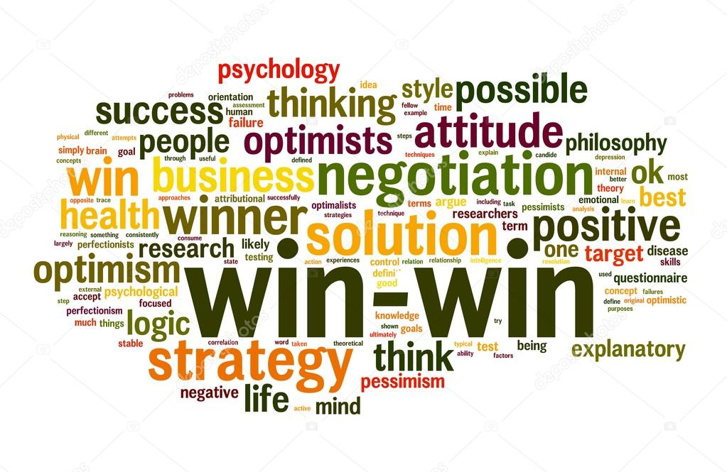 Win-win negotiation solution concept in word tag cloud on white background — Stock Photo #12226425
