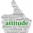 Attitude concept in word tag cloud of thumb up shape — Lizenzfreies Foto