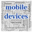 Mobile devices concept in tag cloud on white background — Stockfoto