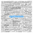 Foto Stock: Optimism concept in word tag cloud on white background