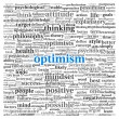 Photo: Optimism concept in word tag cloud on white background