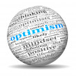 Foto Stock: Optimism concept in word tag cloud on 3d sphere