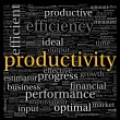 Stock Photo: Productivity concept in word tag cloud on black background