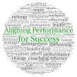 Aligning Performance for Success concept in word tag cloud on white background — Foto de Stock