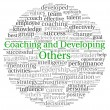 Coaching and Developing Others concept in word tag cloud on white background - Stock Photo