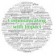 Communicating with Impact concept in word tag cloud on white background — Stok fotoğraf