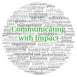 Communicating with Impact concept in word tag cloud on white background — Stock Photo