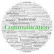 Communication concept in word tag cloud on white background — 图库照片