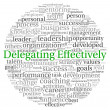 Delegating effectively concept in word tag cloud on white background  — Stock Photo