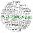 Customer Focus concept in word tag cloud on white background - Stock Photo