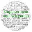 Empowerment and Delegation concept in word tag cloud on white background — Stok fotoğraf