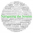 Navigating the System concept in word tag cloud on white background  — Stockfoto