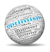 Optimism concept in word tag cloud on 3d sphere — Стоковое фото