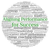 Aligning Performance for Success concept in word tag cloud on white background — Stock Photo
