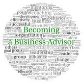 Becoming a Business Advisor concept in word tag cloud on white background — Stock Photo