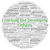 Coaching and Developing Others concept in word tag cloud on white background — Stockfoto