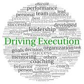 Driving Execution concept in word tag cloud on white background — Stock fotografie