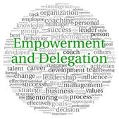 Empowerment and Delegation concept in word tag cloud on white background — Stock Photo