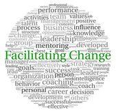 Facilitant la notion de changement dans le nuage de tags mot sur fond blanc — Photo