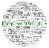 Concetto di sensibilità interpersonale in parola etichetta nube su sfondo bianco — Foto Stock