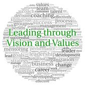 Leading through vision and values concept in word tag cloud on white background — Stock Photo